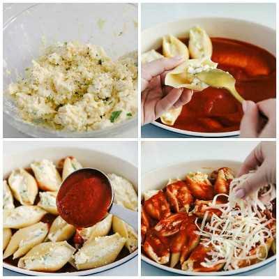 El proceso de hacer tres conchas rellenas de queso.