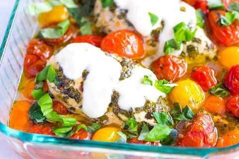 Pechuga de Pollo al horno con Ajo, Albahaca y Tomate