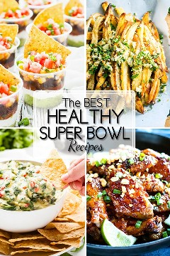 Receitas saudáveis do Super Bowl são TÃO difíceis de encontrar! Para ajudá-lo um pouco, reuni minhas 15 receitas de aperitivo FAVORITE, sem glúten, vegetariana, vegan ou Paleo.