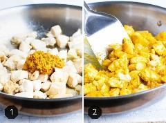 Dos imágenes que muestran la pasta de curry amarillo que se agrega al pollo y luego se agita en él.