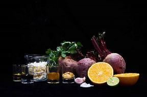 Ingredientes para hacer ensalada de remolacha con vinagreta de cítricos