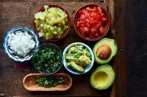 Ingredientes Picados Cactus Fruta Pico De Gallo