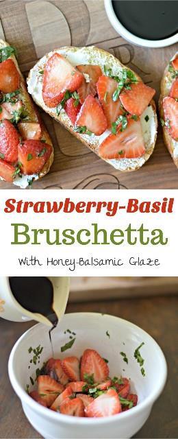 Descubre cómo hacer una fresca y deliciosa bruschetta de fresa y albahaca, rematada con una increíble llovizna de miel y balsámico.
