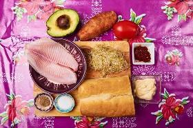 Ingredientes de sándwich de pescado frito