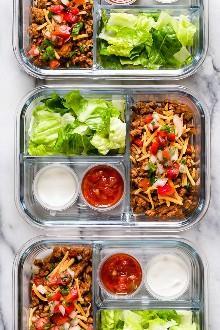 Esta deliciosa ensalada de taco de pavo es perfecta para preparar comidas, ¡para preparar el almuerzo para la semana con anticipación!