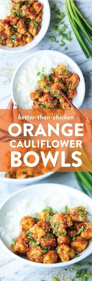 Cuencos de coliflor naranja: ¡el pollo anaranjado favorito de todos, hecho con coliflor en su lugar! ¡Pero no te perderás el pollo con esta salsa celestial!
