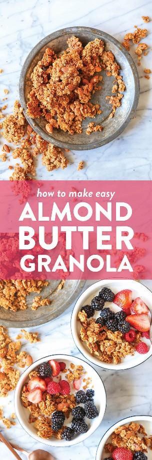Granola de mantequilla de almendras - ¡No hay nada mejor que la granola casera! Es rápido / fácil de hacer, es más barato y es mucho más sabroso. ¡No puedes vencer eso!