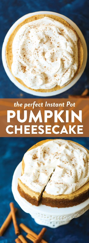 Instant Pot Pumpkin Cheesecake: ¡increíblemente suave y cremoso con la corteza de galleta de gingersnap más irresistible! ¡Y ni siquiera necesitas un horno! ¡GANAR!
