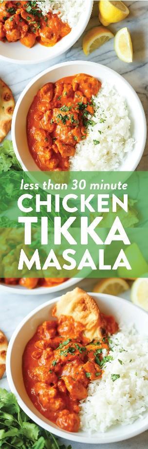 Easy Chicken Tikka Masala - ¡10000 veces mejor (y más rápido) que para llevar! ¡Y el pollo está perfectamente tierno con la salsa más cremosa y con más sabor!