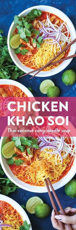 Pollo Khao Soi (Sopa de fideos tailandeses con curry): ¡Hecho con un pollo tan tierno y rallado en un caldo de coco con curry increíblemente fragante que es para morirse!