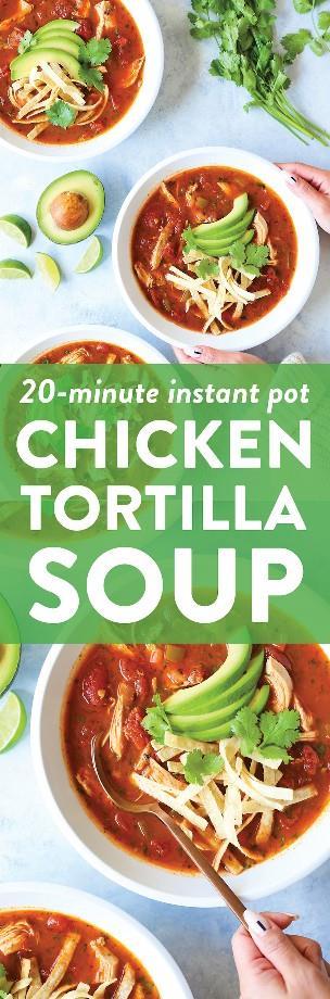 Sopa instantánea de tortilla de pollo - ¡La MEJOR sopa hecha TAN FÁCILMENTE en su olla a presión con las tiras de tortilla más crujientes! Tan bueno + tan reconfortante!