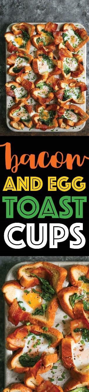 Copas de tocino y tostadas de huevo: ¡el clásico desayuno americano en un solo muffin! Solo pon en capas el pan, el tocino y los huevos. ¡Seguro que van a complacer a la multitud!