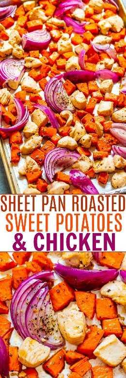 Hoja Pan Patatas dulces asadas y pollo - ¡FÁCIL, SALUDABLE, y una excelente manera de disfrutar las batatas asadas en menos tiempo! ¡Una deliciosa cena de pollo en una sartén que estará lista en 30 minutos y sin ningún tipo de limpieza!