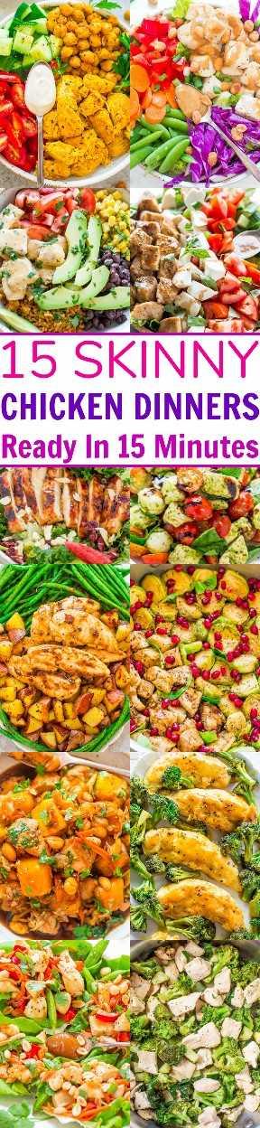 15 jantares de frango magros prontos em 15 minutos: receitas RÁPIDAS, fáceis e sem glúten no lado SKINNIER! Você não perderá a gordura e as calorias, porque há muito GOSTO! Perfeito para noites agitadas e há mais do que saladas!