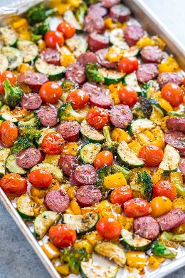 Sausage Leaf and Vegetables - Quick, EASY Recipe for a Frying Pan Filled with TASTE! Juicy sausage, lots of vegetables, and a little Parmesan cheese to finish! Put it on your regular rotation!