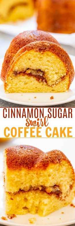 Bolo de café em forma de açúcar e canela: Entre a crosta de açúcar de canela e o açúcar de canela com rotação central, este bolo de café FÁCIL é irresistível. Macio, fofo, leve e, claro, é perfeito com café!