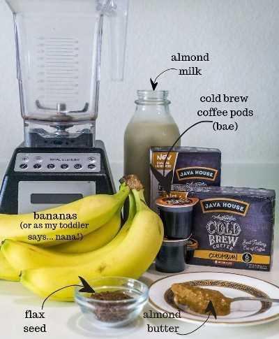 Imagem de ingredientes para fazer café batido café da manhã.