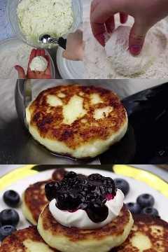 receta de syrniki - queso ruso panqueques pinterest imagen