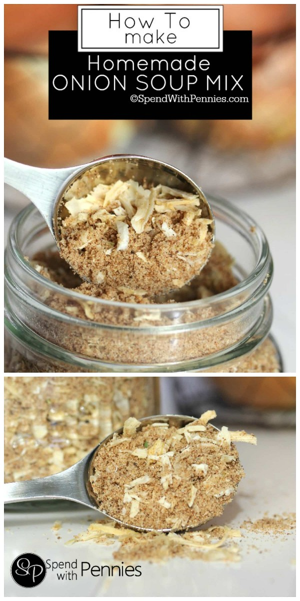 Homemade onion soup mix is easy to make and you can replace a packet of onion soup mix in a recipe! Perfect for the French onion dip, potatoes, chicken, and meatloaf!