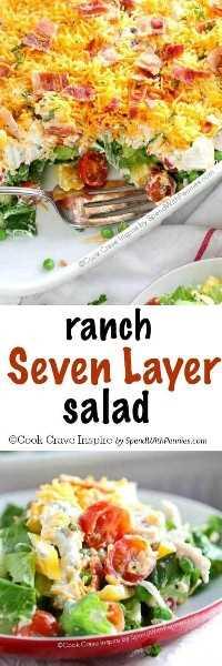 ¡La ensalada Ranch de 7 capas está llena de verduras frescas, pavo sobrante y un aderezo casero estilo rancho! ¡Es un placer de la multitud definitiva!