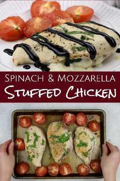 Imagen interesante de pollo relleno de espinacas y mozzarella.