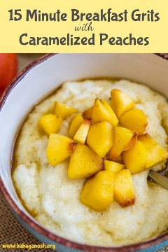 sémola de desayuno con duraznos caramelizados pinterest imagen