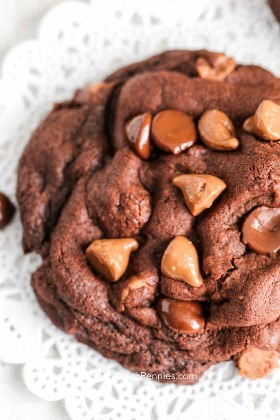 Cerrar en Triple Chocolate Cookie para mostrar textura
