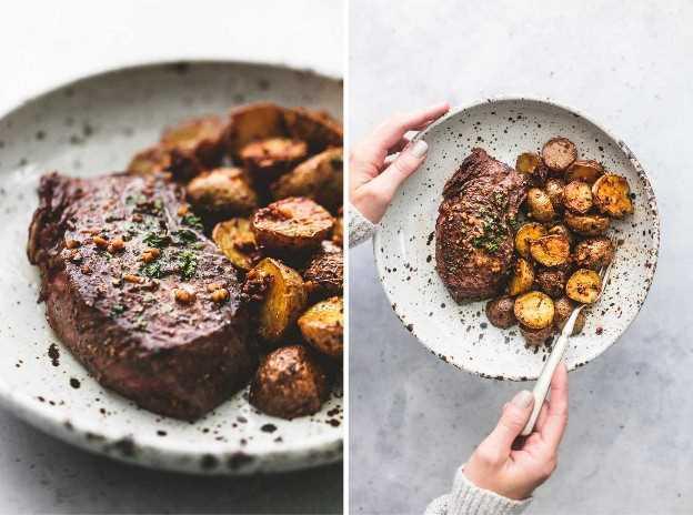 Mantequilla de ajo bistec y patatas receta de sartén | lecremedelacrumb.com
