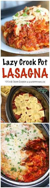 La Laszy Crock Pot Lasagna es una de las favoritas de la familia y es muy rápida y fácil de hacer. Una deliciosa salsa de carne está cubierta con queso y raviolis rellenos de espinacas y un montón de queso pegajoso y se cocina perfectamente en la olla de cocción lenta. Esta es una comida en la que todos estarán de acuerdo.