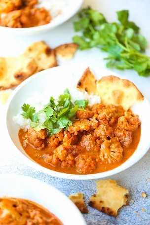 Cuencos de coliflor con mantequilla: ¡el pollo con mantequilla indio se hace más saludable + más corazón con coliflor cargada de nutrientes! ¡Tan cremoso y sabroso, si no mejor!