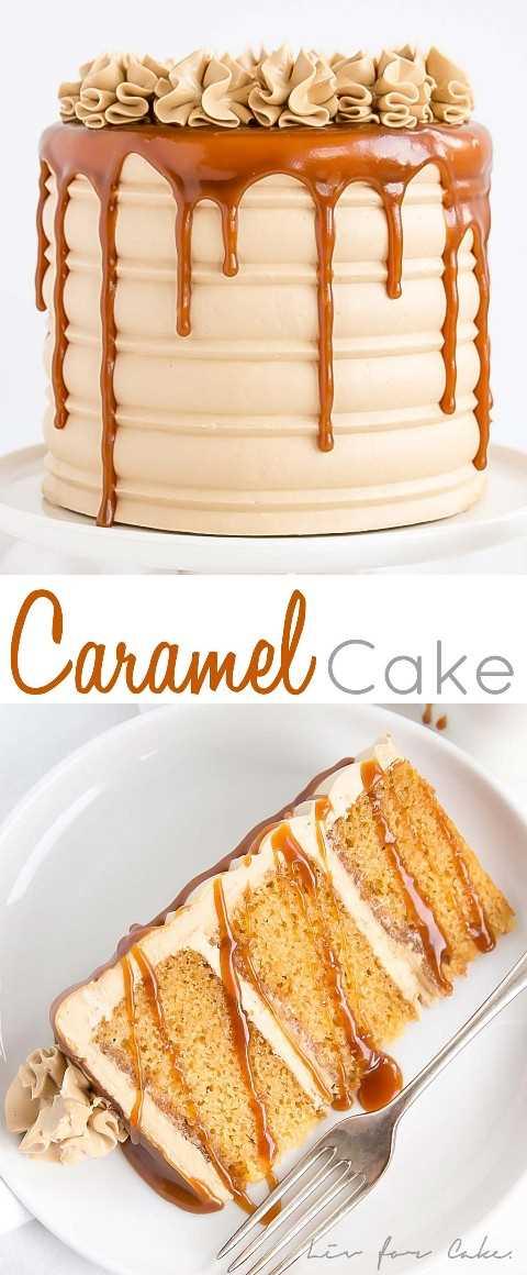 Este pastel de caramelo es perfecto para el ventilador de caramelo duro de tu vida. La salsa casera de caramelo se usa en las capas de la torta, el glaseado y el goteo.
