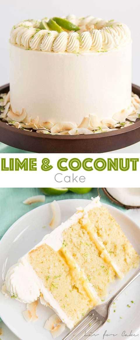 Este pastel de lima y coco evoca lo mejor de los sabores de las islas tropicales. Las tiernas capas de pastel de coco y lima con una cuajada de limón picante y crema de mantequilla de coco sedosa.