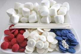 Ingredientes de la bandera americana Marshmallow Pops