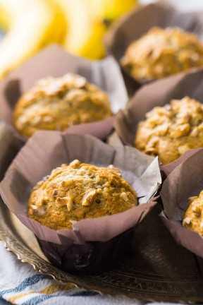 Receta de muffins de nuez de plátano