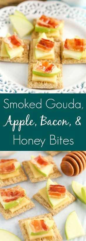 ¡Estos bocados de Gouda ahumado, manzana, tocino y miel son un aperitivo delicioso y fácil!