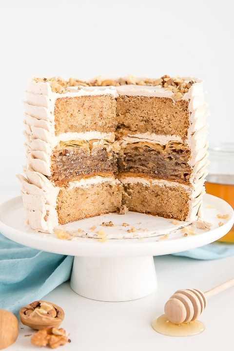 Dentro de um bolo de baklava.