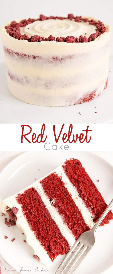 Classic red velvet cake! Tender and rich layers of red cake with a hint of chocolate combined with a spicy cream cheese frosting.