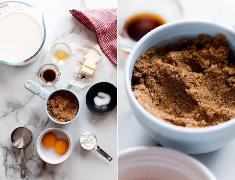 Ingredientes para el pudín de caramelo.