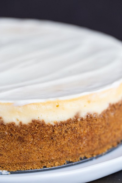 Tarta de queso con corteza de galleta de Graham