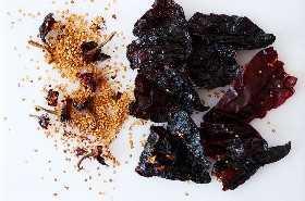 Chiles con semillas y tallos eliminados