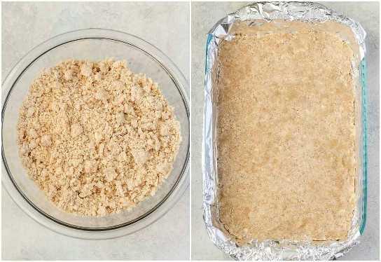 ¡Estas barras de miga de melocotón utilizan la misma mezcla de miga mantecosa para la corteza y la cobertura y se rellenan con un relleno de melocotón fácil!