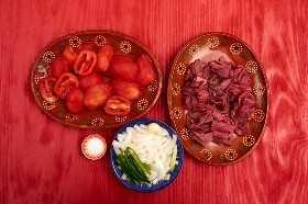 Ingredientes Preparados Para Bistec A La Mexicana
