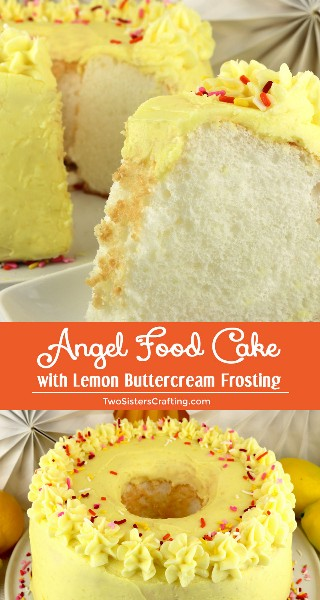 Torta de comida de anjo com cobertura de creme de manteiga de limão - uma torta leve e arejada, coberta com sorvete doce, azedo e delicioso de creme de manteiga de limão. É um clássico por uma razão. Que sobremesa saborosa de brunch, lanche de verão ou aniversário. Faça isso com facilidade, faça a receita do Angel Food Cake para mais tarde e siga-nos para ideias de sobremesas mais fáceis. #LemonCake #CakeRecipes #Lemon #LemonDesserts #FrostedDesserts #LemonFrosting #AngelFoodCake #EasyDesserts
