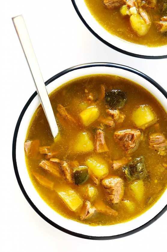 Sopa De Salsa Verde Con Patatas Y Poblano