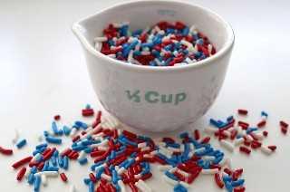 Rojo blanco y azul Sprinkes para nuestros cupcakes patrióticos