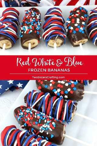 Bananas congeladas brancas e azuis vermelhas - fácil de fazer bananas congeladas com cobertura em chocolate caseiras patrióticas para uma festa de 4 de julho. Chame-as de Bananas Congeladas ou de Caudas de Macaco, esta deliciosa sobremesa congelada de verão será uma ótima sobremesa para o dia 4 de julho. Pinte essas delícias de 4 de julho para mais tarde e siga-nos para obter mais idéias sobre a comida de 4 de julho. # 4deJulho #fourthofjuly # 4thofJulyTreats #FrozenBananas #VermelhoBranco e Azul