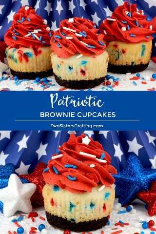 Patriotic Brownie Cupcakes es un toque único en un clásico: Brownies más Confetti Cake más Buttercream Frosting en una perfecta magdalena roja, blanca y azul. Tus familiares, amigos y invitados a la fiesta del 4 de julio quedarán impresionados cuando sirvas este súper delicioso. Que divertido y delicioso 4 de julio. Pin este fácil Postre del 4 de julio para más adelante y síganos para obtener más ideas geniales sobre la comida navideña. # 4thofJuly #fourthofjuly # 4thofJulyTreats # 4thofJulyCupcakes # 4thofJulyDesserts #TwoSistersCrafting