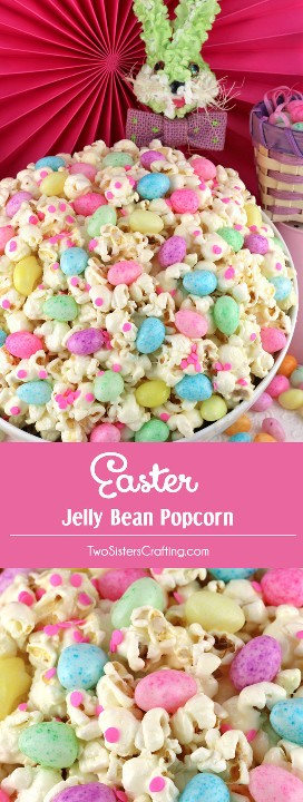 Easter Jelly Bean Popcorn - ¡un divertido y único postre de Pascua que contiene jalea y palomitas de maíz dulces y saladas! ¡Este regalo de Pascua es tan fácil de hacer y sería un excelente Postre de Pascua o un Dulce de Pascua único para la canasta de Pascua para niños! Guarde este delicioso bocadillo de Pascua para más tarde y síganos para obtener más ideas fantásticas sobre la comida de Pascua. #easterfood #jellybeans #easterdesserts