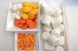 Ingredientes para Candy Cane Marshmallow Pops