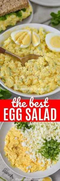La foto superior muestra la ensalada de huevo mezclada en un tazón blanco. La foto de abajo muestra los ingredientes ensamblados antes de mezclarlos en un tazón blanco.